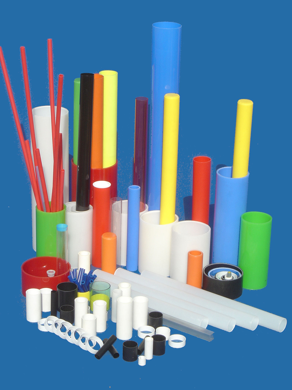 Advertising poles, display stands, sleeved tubes, socket-joint tubes, sleeves, plastic backings