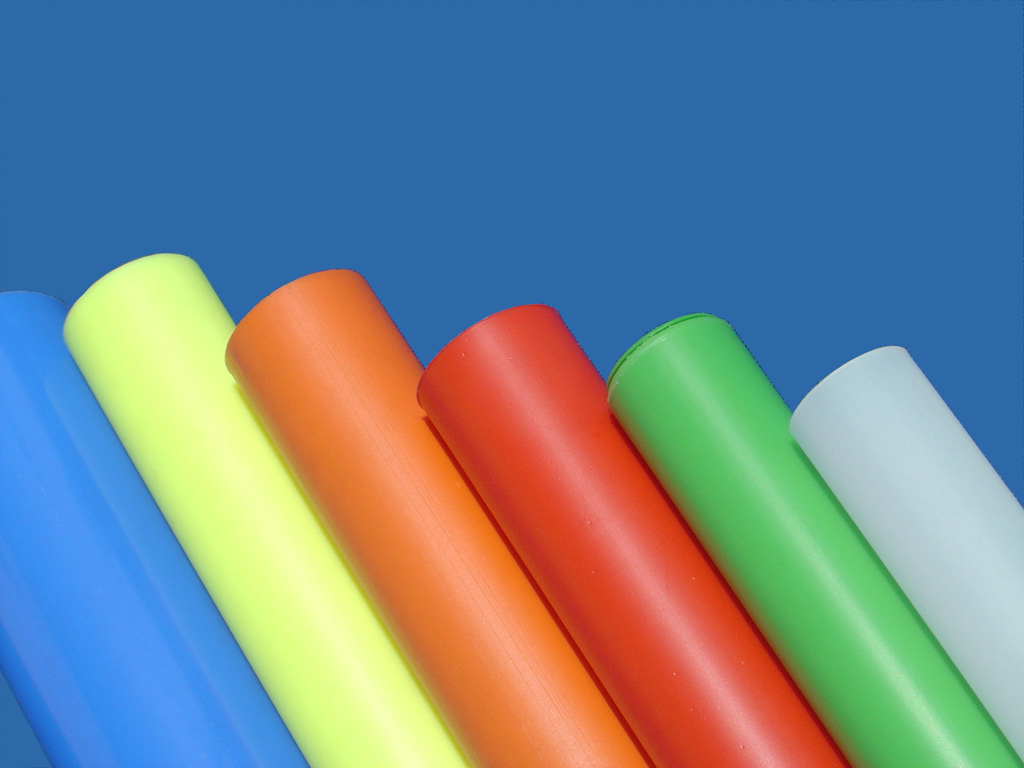 Plain, opaque, colour plastic tube