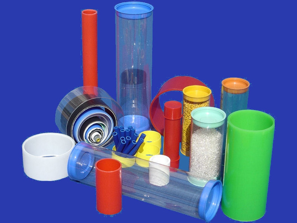 Plastic tube with plastic stopper, container